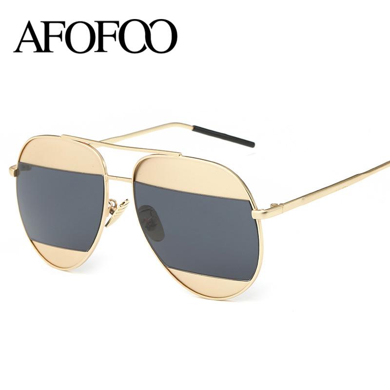 Ladies Metal Frame Glasses : AFOFOO Fashion Metal Frame Sunglasses Luxury Brand ...