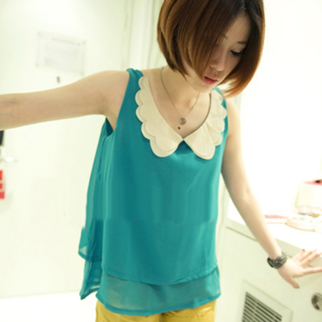 2013 spring and summer butterfly collar double layer chiffon sleeveless T-shirt 4