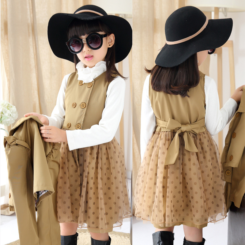 2015 New Fashion Girls 2pieces Dress Layered Spring Winter Autumn Polka Dot Dress+Short Trench Coat Kids Clothing Set 3-15Years(China (Mainland))