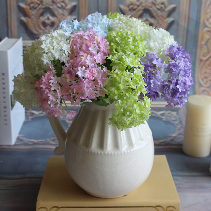European Fake Silk Flower Branch Artificial Hydrangea Wedding Bridal Home Floral Decor Flower Arrangement DIY