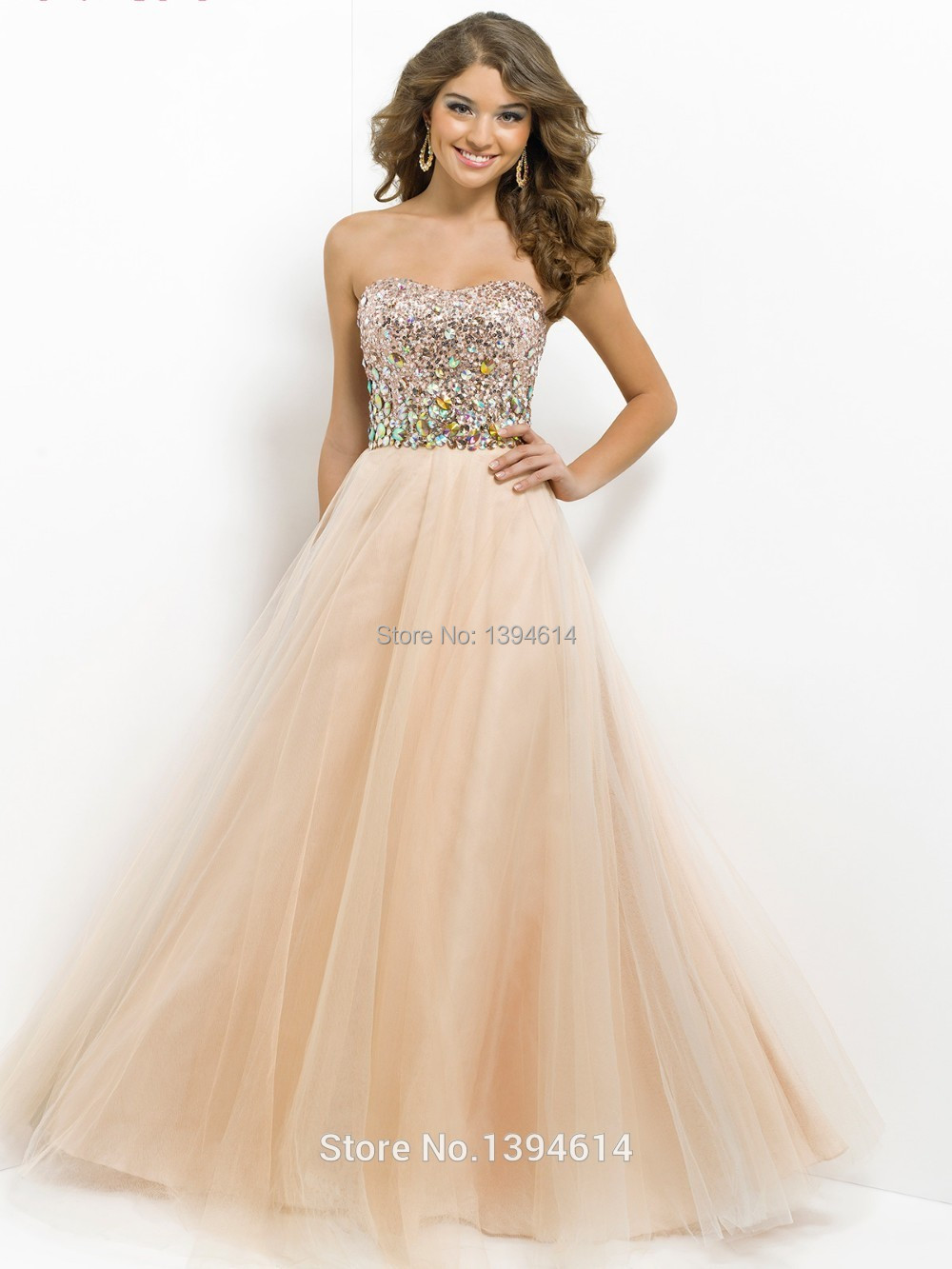 2015 beautiful crystal sequins strapless ball gown prom for Champagne ball gown wedding dresses