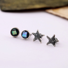 Min $20(can mix) Free Shipping Vintage Natural Shell Star Fish Women Stud Earring 4pcs/ set(China (Mainland))