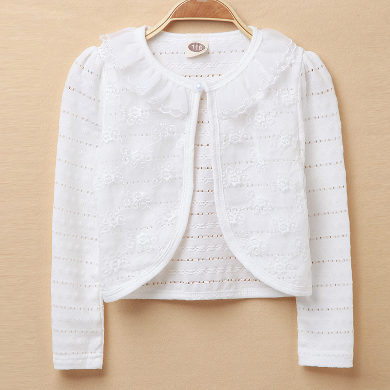 White Shrug Kids Sweater Long Jacket