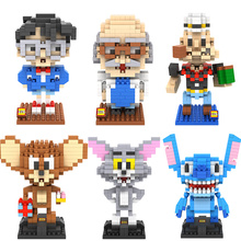 Mini Craft Action Figure Models Conan Hakase Agasa Popeye Stitch Tom and Jerry DIY blocks