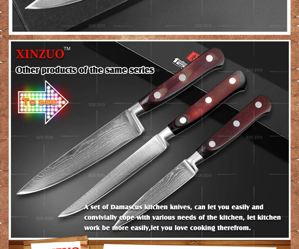 """Buy 6"""" inch chef knife 73 layers Japan Damascus steel kitchen knife with Color wood handle high quality sharp knife free shipping cheap"""