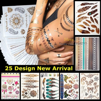Peacock Feather Design HYS-51 Flash Metallic Temporary Tattoo Stick Paster Waterproof Tattoo Gold Silver Women Fashion Henna