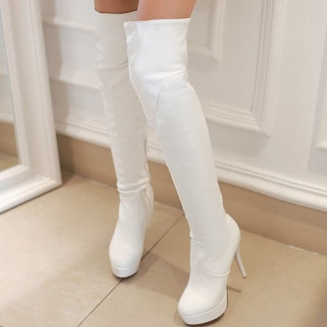 Fashion Red Bottom Warm Thigh High Boots 2015 Brand Women's Sexy Thin High Heel Autumn Winter Boots Leisure Winter Shoes Women(China (Mainland))
