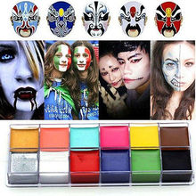 1 Set 12 Colors Flash Tattoo Face Body Paint Oil Painting Art Halloween Party Fancy Dress Beauty Makeup Tools(China (Mainland))
