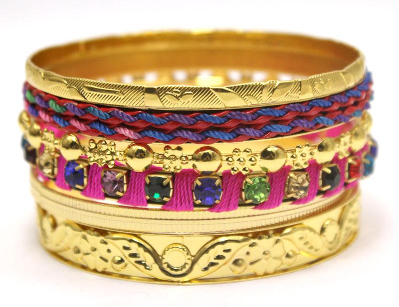 LADYMEE Bracelet Bracelet Bijoux Chaude Rose Multi Couleur Strass Bracelets pour les Femmes Or Bracelets Indien
