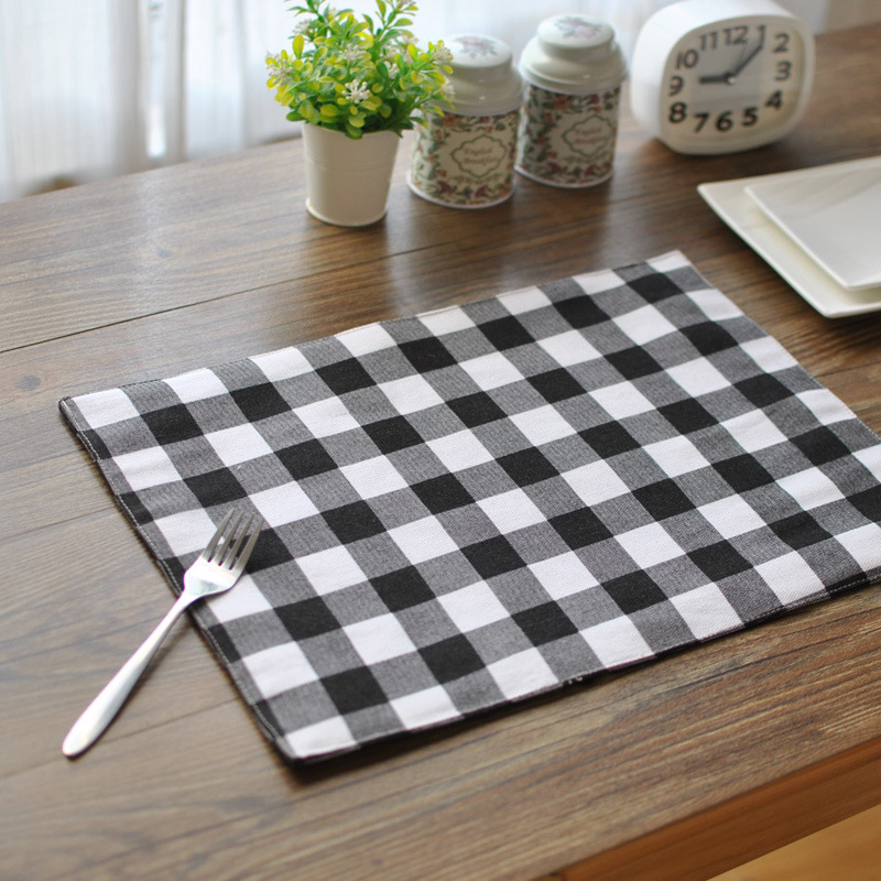 Coasters Real 2016 New Sale Cotton Table Placemats Plaid Double-sided Placemat Dinner Insulation Pads Napkin For Home Decoration(China (Mainland))