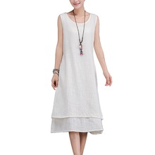 Buy Summer style 2017 femininos dresses new fashion cotton linen vintage Solid plus size women casual loose dress vestidos 5XL 2L40 for $15.05 in AliExpress store