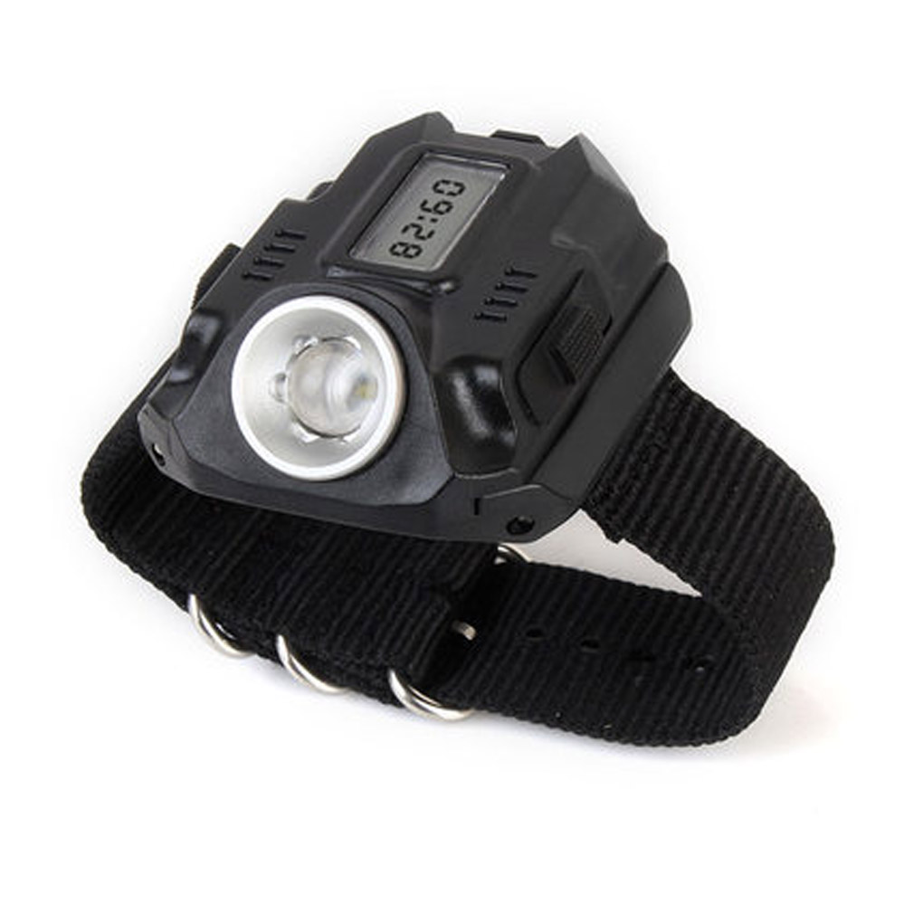 XPE LED 1000LM Display Rechargeable Wrist Watch Flashlight Torch  Waterproof