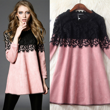 NEW FASHION WOMEN SPRING AUTUMN DRESS SOLUBLE FLOWER LACE PARTCHWORK SUEDE WOMEN DRESS(China (Mainland))