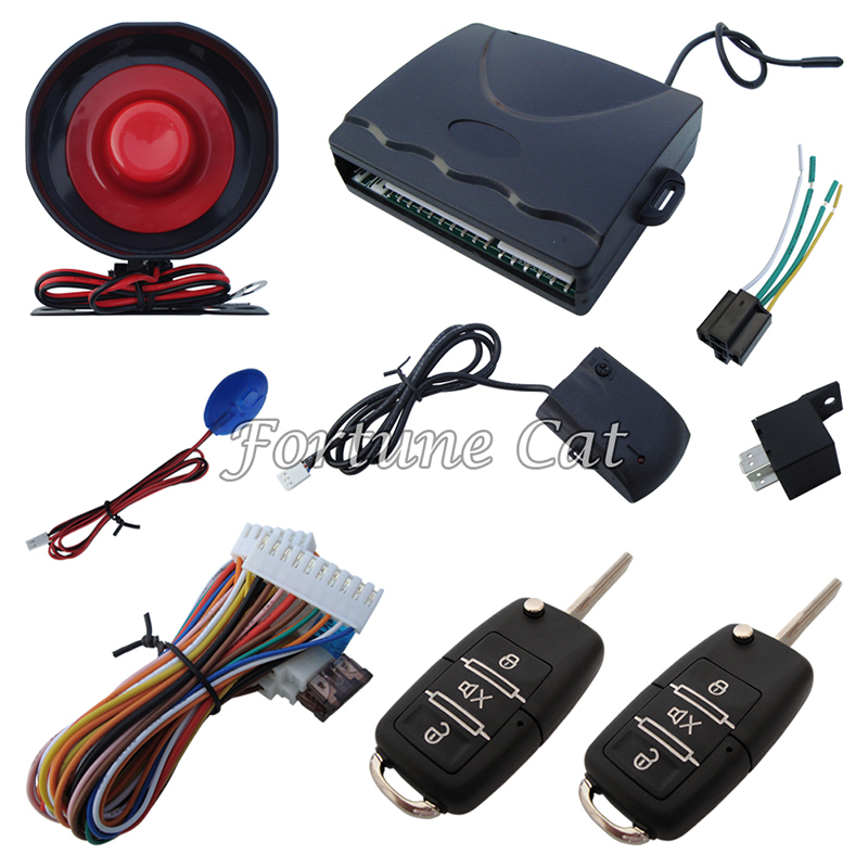 In Stock One-Way Car Alarm System With Flip Remote Controls Bkank Keys Selectable Alarm With Shock Sensor & LED Status Indicator(China (Mainland))