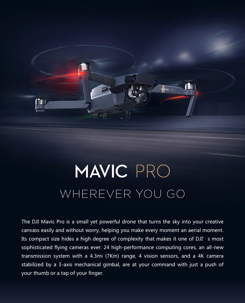 [IN-Stock] DJI Mavic Pro Gimbal Stabilized Camera RC Quadcopter Drone Selfie FPV GPS Mini 12MP Lens 4K for Movie Photographer