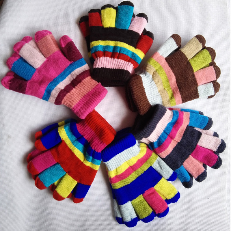 2015 Fashion Winter Kids Gloves Mittens Striped Knitted Gloves For Boy Girls Five Fingers Gloves Children 5-14 years(China (Mainland))