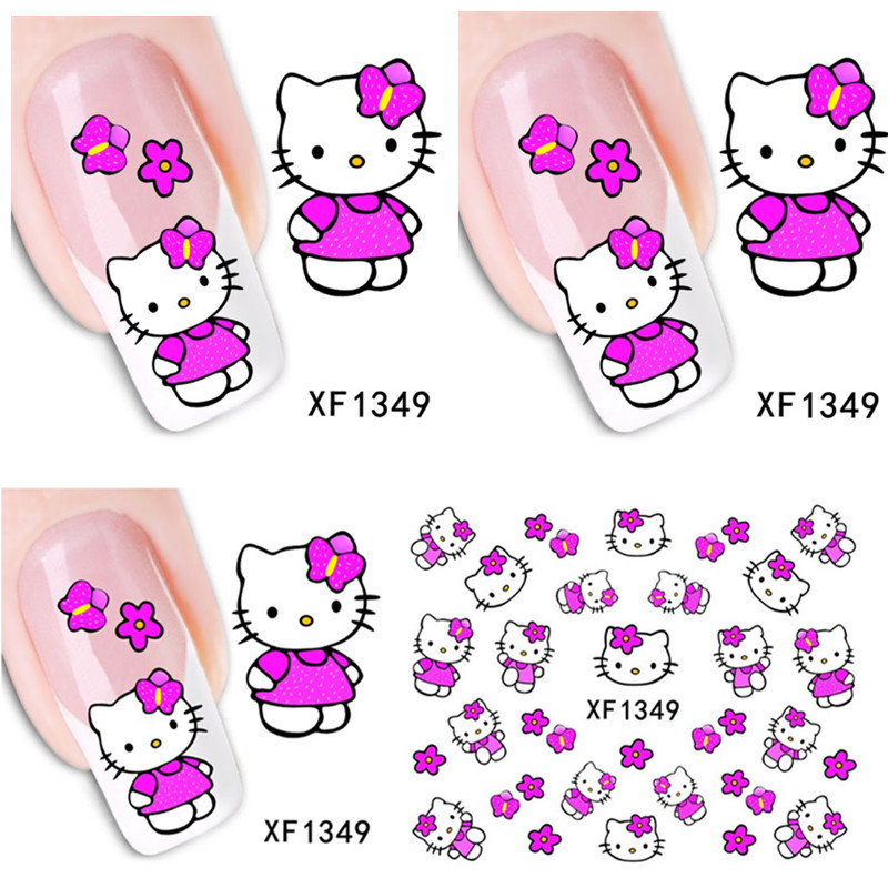 1sheet New Fashion Lovely Cute Cat DIY Water Transfer Nail Art Stickers Decals Wraps Salon Beauty Manicure Styling Tools XF1349(China (Mainland))