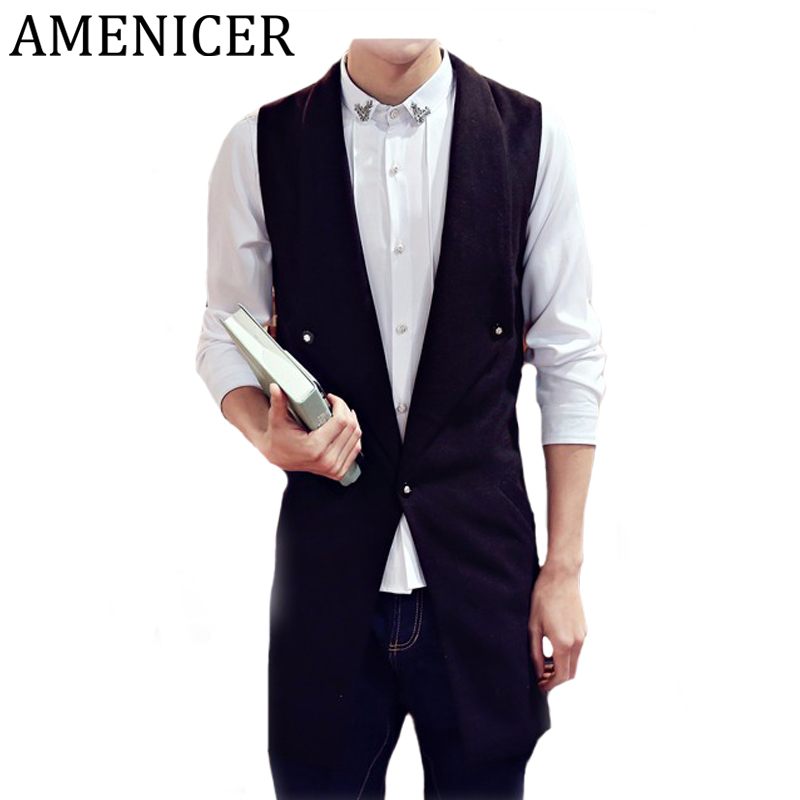 New 2016 Mens Vests Turn-down Collar Single Breasted Solid Slim Fit Fashion Casual Sleeveless Vest For Men Vetement Homme(China (Mainland))
