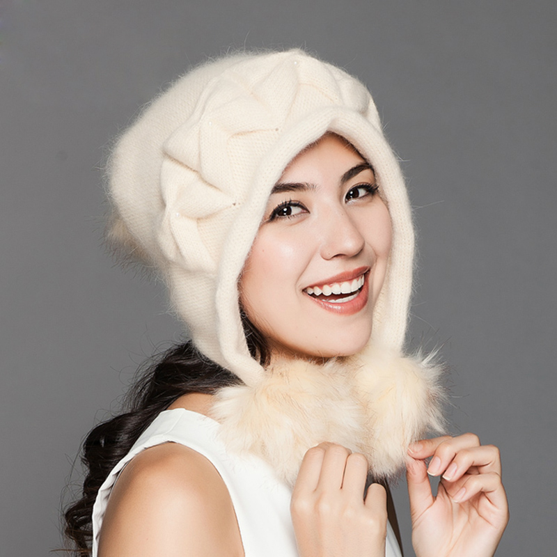 High Quality Winter Cap Female New Wool Rabbit Hair Beanies Ear Protection Thermal Warm Knitted Hat Women Caps Hats Gorro(China (Mainland))