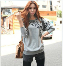 Hot ! 2014 Spring Autumn Korean Style Women Batwing Sleeve Leopard Printed Fashion Sweatshirt Casual Shirt Tops Women Clothing(China (Mainland))