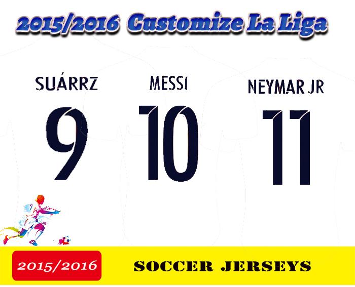 2016 Spain's League MESSI SUAREZ NEYMAR XAVI PIQUE 15 16 2015 Soccer Jerseys Customize Survetement Footbal uniform t shirt(China (Mainland))