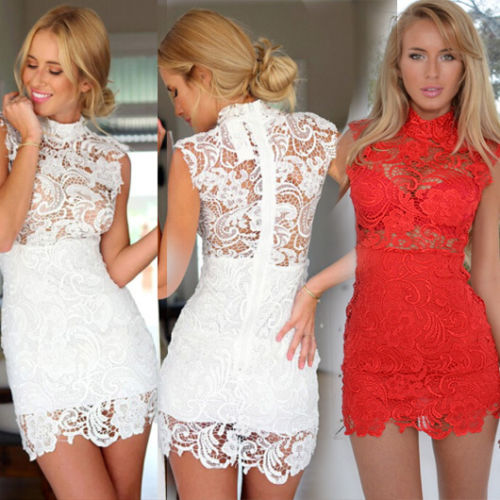 Sexy Women Lace Gauze Prom Gown Formal Party Cocktail Short Mini Dress(China (Mainland))
