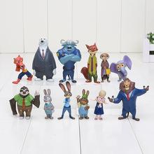 Free shipping 12pcs/lot 4-7cm new Movie Zootopia Cartoon Utopia Action Figure Movie Pvc Mini Models Nick Fox Judy Rabbit(China (Mainland))