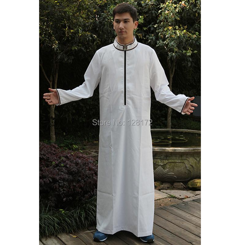 2014 New Fashion White Cotton Abaya Muslim Prayer Jilbab Thobe, Islamic Clothing Arabic Dubai Turkish Long Dress for Men(China (Mainland))