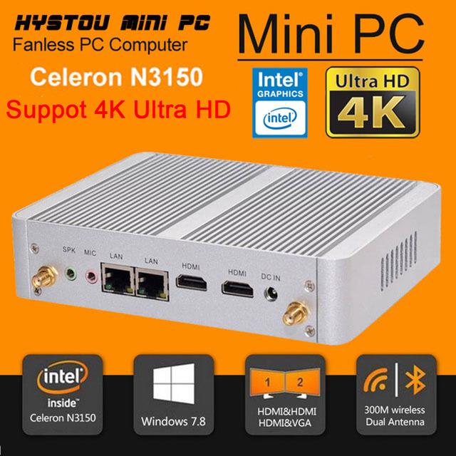 New Minipc Quad Core Mini PC Windows 7 Turbo boost 2.08GHz Intel N3150 Dual HDMI TV Box Micro Computer 300M WiFi Micro PC(China (Mainland))