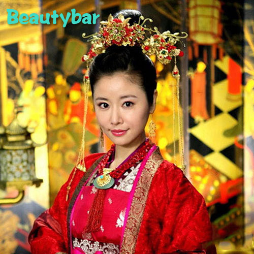 Gold Plated Traditional Chinese Wedding Hair Accessories Red Flower