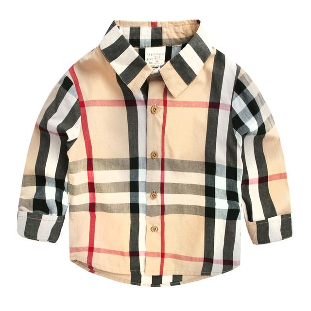 2016 новых прибытия младенца мальчиков рубашки весна лето длинные рукава дети блузка хлопок популярные англия плед детская одежда 2-8 Т