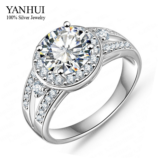 YANHUI Luxury Round 2 Carat SONA Simulated Diamond Wedding Rings For Women With 18K White Gold Filled Engagement Ring YH060<br><br>Aliexpress