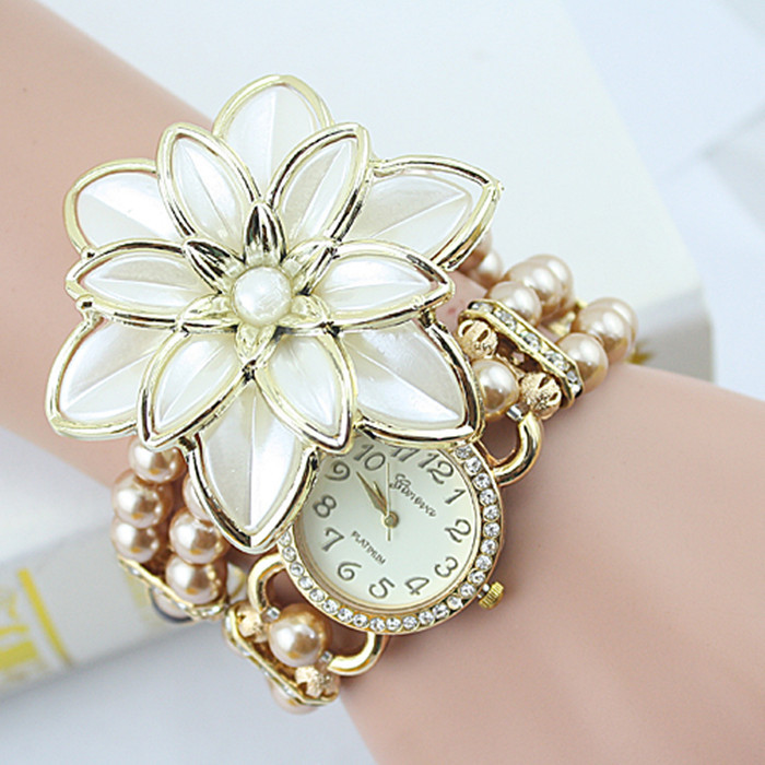 2015 New Arrival Fashion Flowers Pearl Bracelet Watch &amp; Creative Ladies watch &amp; Bracelets &amp; Bangles Watch With Free Shipping <br><br>Aliexpress