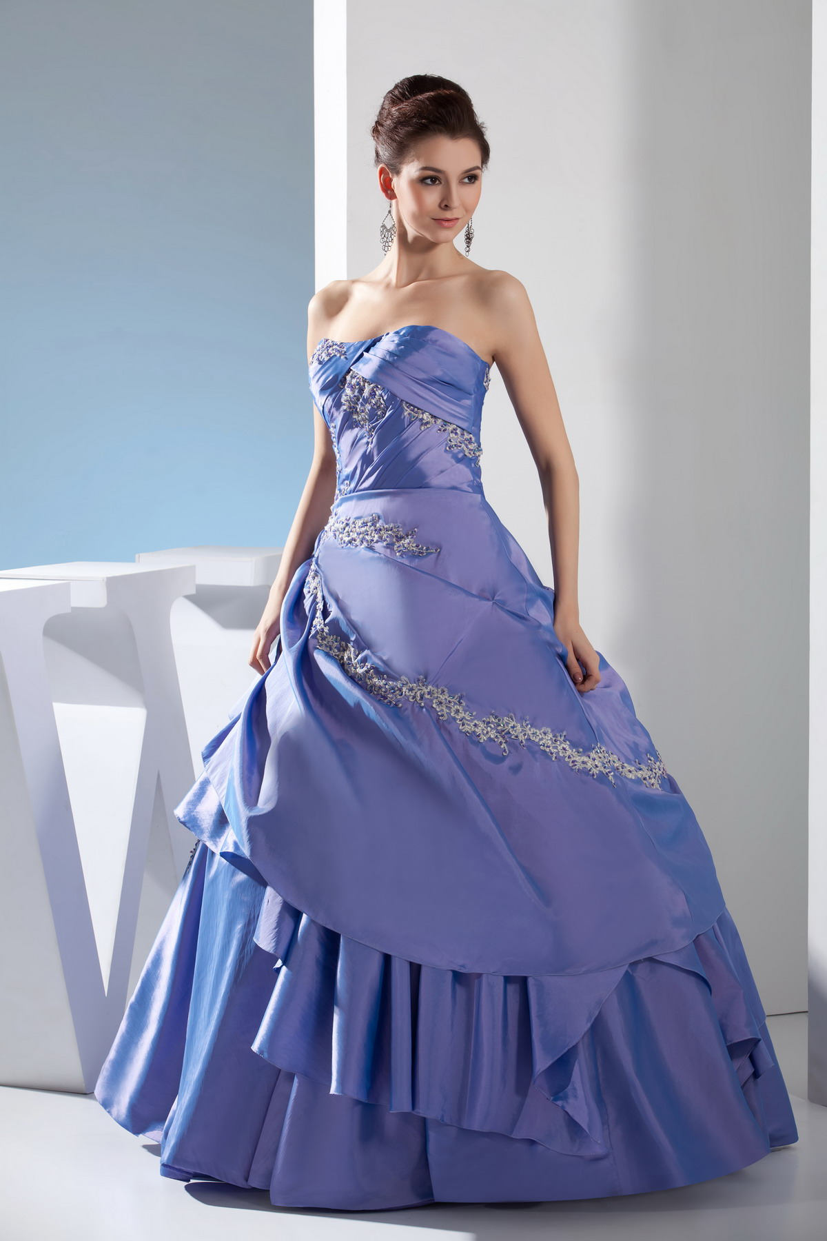 Blue wedding dress with no train off the shoulder for Wedding dress no train