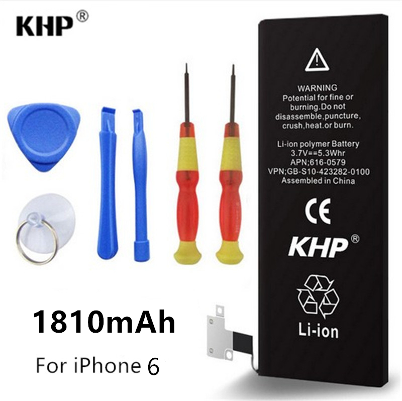 Original Brand KHP Mobile Phone Li-ion Internal Replacement Battery Batteries For iPhone 6 Real 1810mAh With Repair Tools Kit(China (Mainland))