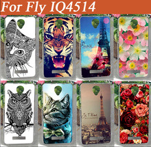 FLY IQ4514 DIY Pattern Soft TPU Phone Back Cover Cat Owl Butterfly Peony Rose Flower Pattern Case For FLY IQ4514 EVO Tech 4