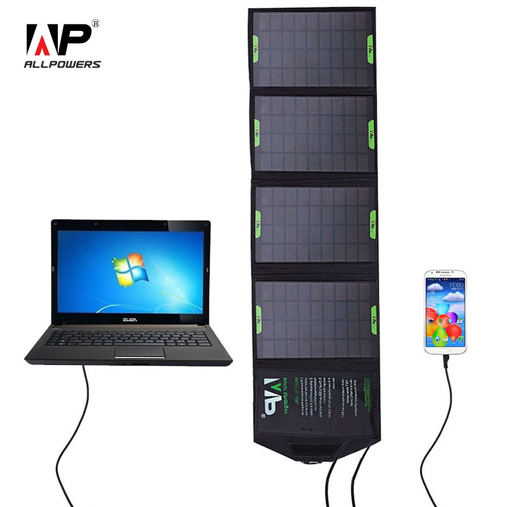 ALLPOWERS 5V 18V 14W Outdoor Foldable Solar Panel Charger Power Bank External Battery Pack for Laptop