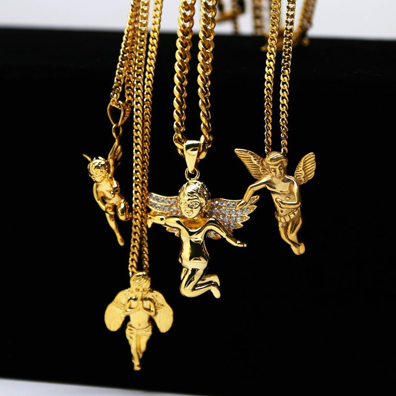 70CM Hiphop Jewelry Gold Chain Necklace For Men Real 24K Gold Angel Pendants Necklaces Charm Mens Necklace cadena de oro hombre(China (Mainland))