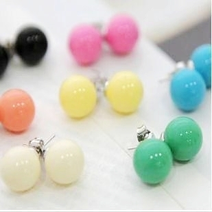 Sunshine jewelry store Candy color ball stud earrings 12pairs/lot  E086(min  $10 free shipping order)