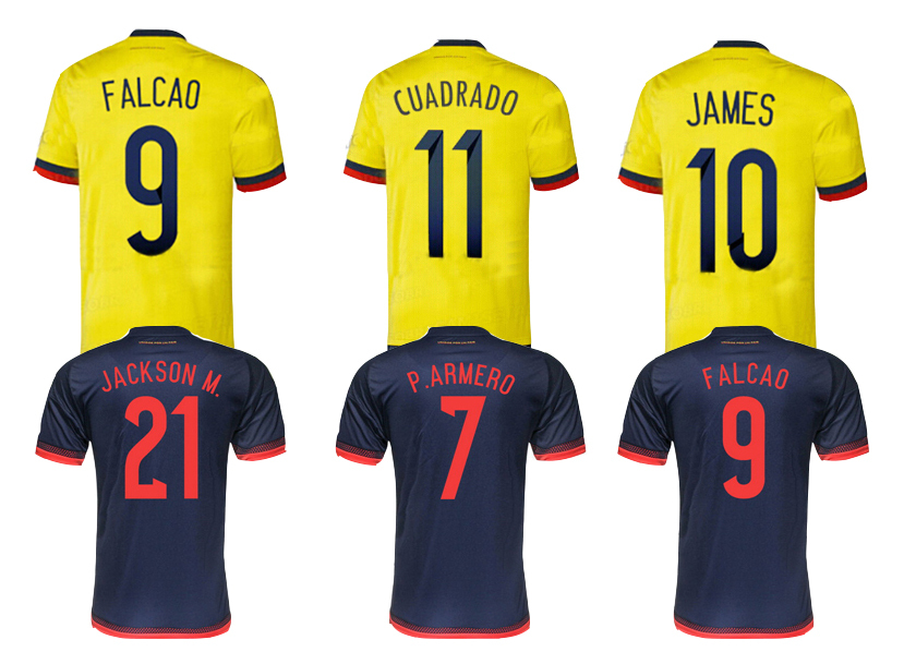 2015 16 Colombia soccer jersey home away FALCAO Colombia jersey 15 16 JAMES RODRIGUEZ Colombia FREE customized football shirts(China (Mainland))