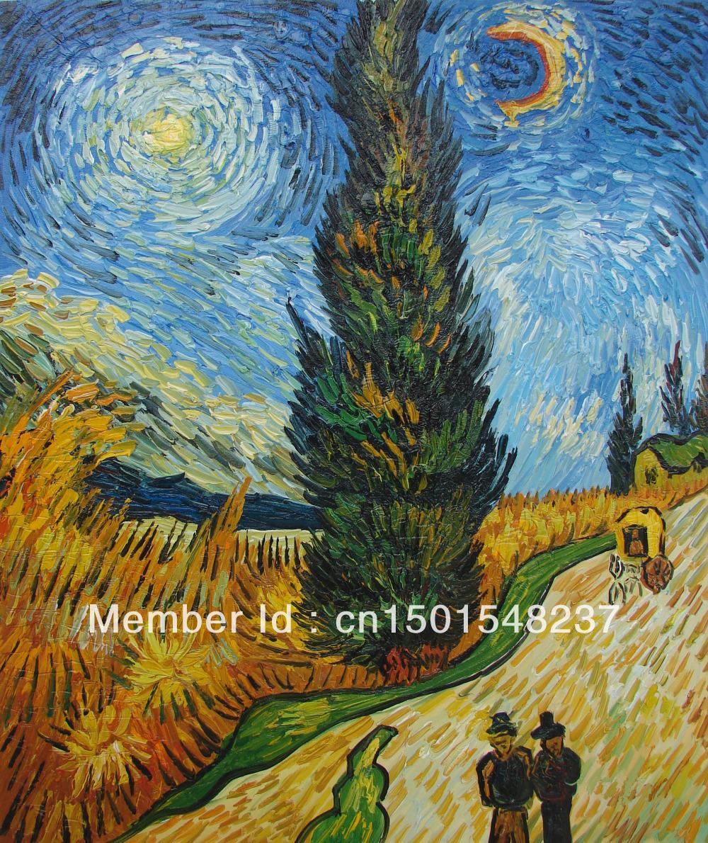 Route de cypr s et toiles van gogh c l bre reproduction 20 x 24 peinture l 39 huile sur - Peinture a l huile van gogh ...