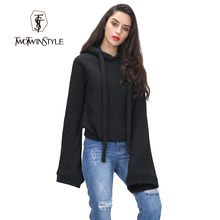 [TWOTWINSTYLE] streetwear women hoodies sweatshirts super long flare sleeves pullovers with hat 2016 autumn winter fashion new(China (Mainland))