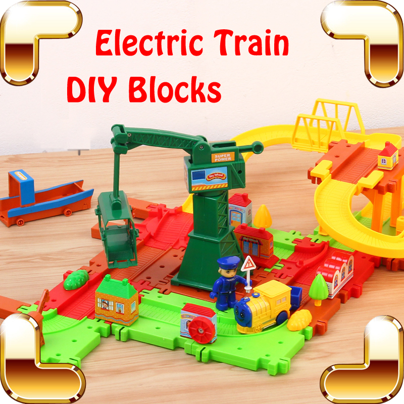 New Arrival Gift Baby Favour Electric Railway Train Toy Educational DIY Game Blocks Kids Learning Teaching Tool Luxury Present(China (Mainland))