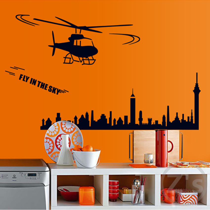 scenery city wall stickers for kids rooms boys wallpaper sticker kids wall stickers nursery Mural children home decor AY7071(China (Mainland))