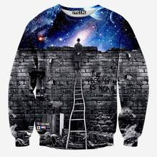 [Andy] New fashion Men/women's sweatshirts 3d print A person watching space Meteor shower casual galaxy hoodies(China (Mainland))