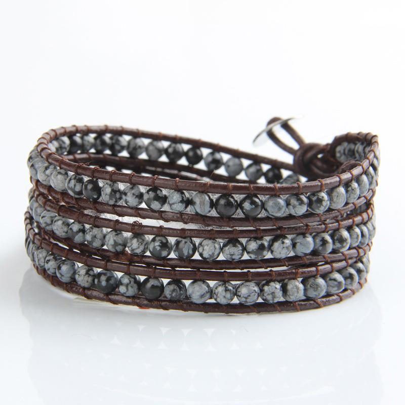 Stunning Ink Blue Crystal Beaded Leather Wrap Bracelet Handmade Wrap Bracelet Wholesale Beads Bracelet Unisex 2016 sl70(China (Mainland))