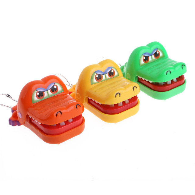 Funny New Cartoon Animal Toy Crocodile Dentist Bite With Keychain Mouth