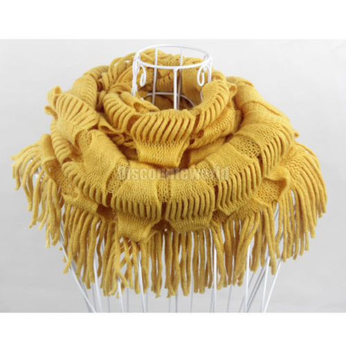 2015 Hot Selling Fashion New Women Winter Warm Knit Fringe Tassel Neck Wraps Circle Snood Scarf