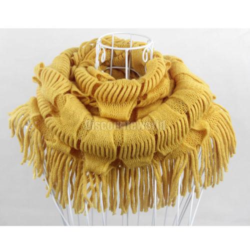 2015 горячая распродажа мода новый женский зима теплая вязать бахрома прочистки шеи обертывания круг поводка шарф шаль 13 цветов