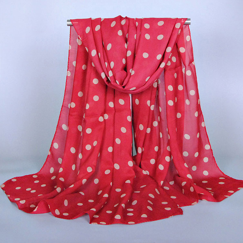 2016 Fashion New Arrival Dot Printed Women Scarf Spring And Summer Chiffon Scarf Sunsreen Cape Beach Towel Polka Dot Silk Scarf(China (Mainland))